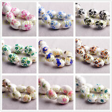 10/30pcs 15x10mm Oval Flower Charms Loose Ceramic Porcelain Big Hole Beads