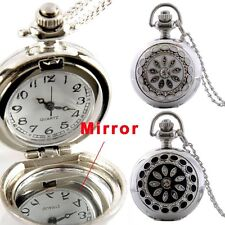 Silver Crystal Diamond Flower Pocket Watch Necklace Quartz Chain Pendant Gift UK