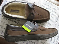 NIB EW Eddie Bauer Men's Slip on Moc/Slipper Genuine Leather Brown INDOOR/OUTDOO
