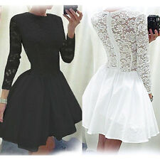 Women Vintage Long Sleeve Lace Evening Formal Cocktail Party Mini Top Dress 8-18