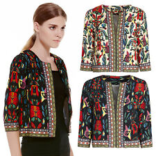 Vintage Women Ethnic Floral Print Embroidered Short Jacket Slim Thin Padded Coat