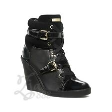 MICHAEL KORS Black Skid Wedge Patent Leather Gold-tone Buckle Fashion Sneakers