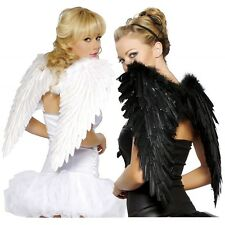Beautiful Fallen Angel Feather Wings Gothic Raven Halloween Fancy Dress Costume