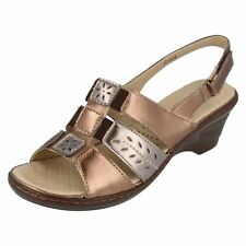 Ladies Eaze Bronze/pewter sling back sandals F3108