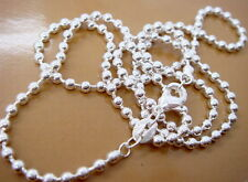 """1PCS 925Sterling Silver Solid Silver Ball Bead Chain Necklace 2MM 16""""-24"""""""
