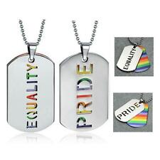 LGBT PRIDE or EQUALITY NECKLACE Cutout Dog Tag Pendants Gay Lesbian Rainbow NEW