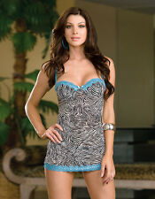 Sexy sheer mesh lace underwire zebra print babydoll thong Dreamgirl