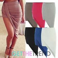 Womens Jersey Draped Skirt Side Split High Waist Mini Skirt Asymetric Bodycon