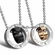 Double Rings Couples Pendant Necklace Stainless Steel Valentine Gifts for Lovers