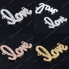 Bling LOVE Rhinestone Crystal Connector Bracelet Charms Bead Sideways Curved New