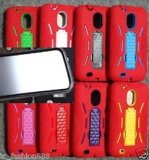 Samsung Galaxy S2 II SCH-R760 SILICONE RED with BUILT IN SCREEN PROTECTOR Case