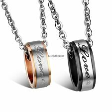 LOVE Circle Pendant Necklace Stainless Steel Anniversary Gift Men Women Couple's