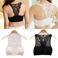 Womens Lace Top Bralet Bustier Cut Out Vest Strappy Crop Tank Tops Bra Bandeau