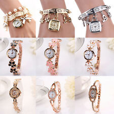 Women Charismatic Alloy Rhinestone Bracelet Rose Gold Plated Wristwatches