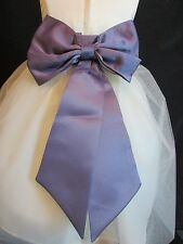 INFANT VICTORIAN LILAC WEDDING FLOWER GIRL SASH TIE BOW 6 9 12 18 MONTH