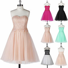 Strapless Sweetheart Lace&Tulle Homecoming Bridal Gown Evening Prom Party Dress