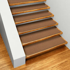 Set of 15 SKID-RESISTANT Carpet Stair Treads TOFFEE BROWN runner rugs