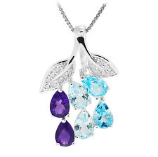 Unique Amethyst Sky Swiss Topaz Pendant Necklace Chain 925 Sterling Silver