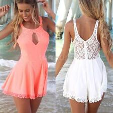 Fashion Womens Hollow Lace Tunic Jumpsuits Rompers Short Pants Playsuit Dress