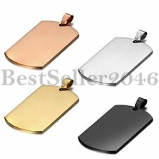 Men's Army Military Polish Stainless Steel Dog Tag Pendant Necklace w Chain