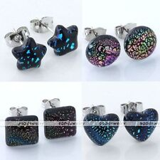 2x Dichroic Foil Lampwork Glass Star Heart Round Rhombus Ear Studs Earrings Gift