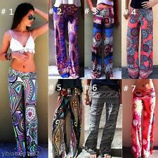 New Retro Boho Tribal PRINT PALAZZO PANTS High Waist Yoga Foldover Band Trousers