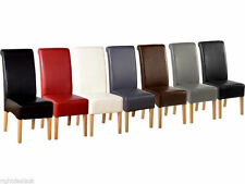 2x High Quality Leather Dining Chairs Scrollback Roll Top Solid Oak - 5 Colours