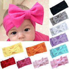 Girl Kids Baby Stretch Cotton Bowknot Hairband Headband Turban Knot Head Wrap