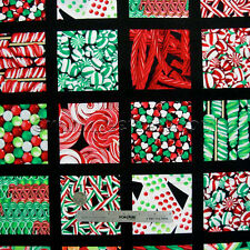 CHRISTMAS CANDY STORE Black Multi Cotton Quilt Fabric FQ Yard Holiday Xmas Cane