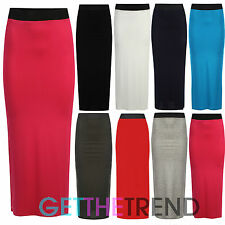 WOMENS LONG MAXI SKIRT LADIES BLACK ELASTIC FULL LENGTH FITTED CASUAL SKIRT