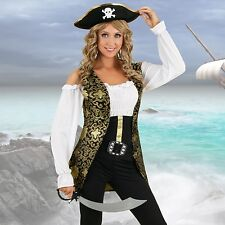 Womens Caribbean Vixen Pirate Costume Halloween Fancy Dress Party Outfit & Hat