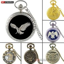 Retro owl eagle phoenix Bird Antique Pocket Watch Chain Quartz Pendant Gift New