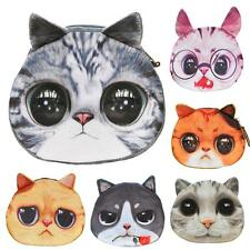 Women Cat Eyes Print Mini Wallet Girls Purse Zipper Makeup Coin Cute Bag Case