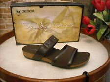 Aetrex Lilly Brown Leather Comfort Slide Sandal NEW