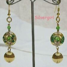 Dangle Cloisonne Beaded Earrings Emerald Green Red White Pink Orange Gold GP