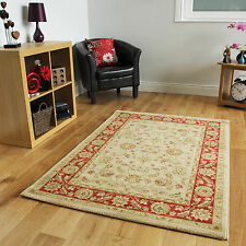 Red Cream Soft Traditional Rugs Easy Clean Oriental Style Runner Rug Circle Mat