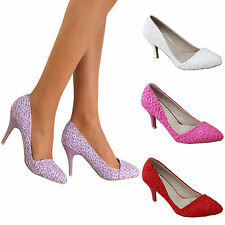 Ladies Lace Stiletto Mid High Heel Pointed Party Bridal Court Shoes Wedding Prom