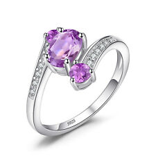 JewelryPalace 925 Sterling Silver Natural Amethyst 3 Stone Anniversary Ring