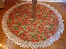 "Christmas Paisley & Poinsettia Reversible Tree Skirt 47"" Custom Made"