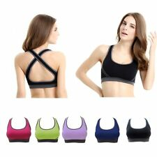 Women Yoga Fitness Workout Tank Top Seamless Racerback Padded Sports Running Bra