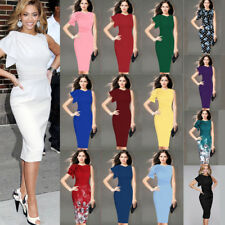 Women Celebrity Elegant Ruffle Ruched Wear to Work Party Prom Bodycon Dress 1157