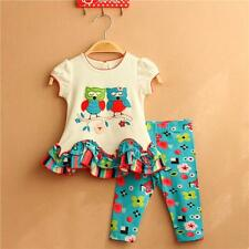 NEW baby GIRLS Toddler Kid's summer Clothes Tops+pants baby outfits& set owl