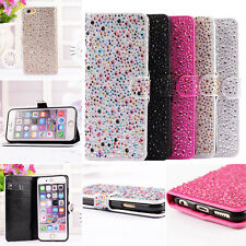 For iPhone 6G 6Plus Card Slot Leather Stand Wallet Case Cover Bling Flip Pouch