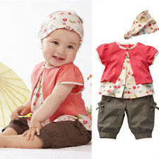 3pcs Toddler Baby Infant Girls Outfits Headband+T-shirt+Pants Kids Clothes Set