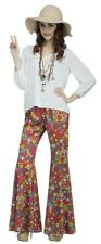 Women Adult Sexy Bell Bottom PEACE FLOWER POWER Costume Pants Retro 60s 70s Cost