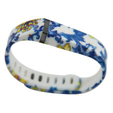 Blue&Gold Print Large/Small Replacement Wristband+Clasp For Fitbit Flex Bracelet