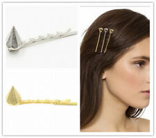 Simple Punk Pyramid Rivets Geometric Golden Alloy Lady HairClip Hairpin 2 Color
