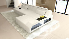 Modern Sectional Sofa AREZZO L-Shaped with LED Lights white white
