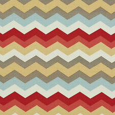 Red Blue Pink Gold And Grey Chevron Outdoor Upholstery Fabric