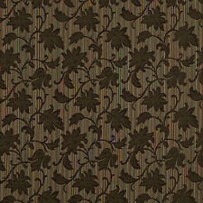 A0040B Brown Teal Embroidered Floral Stripe Upholstery Fabric